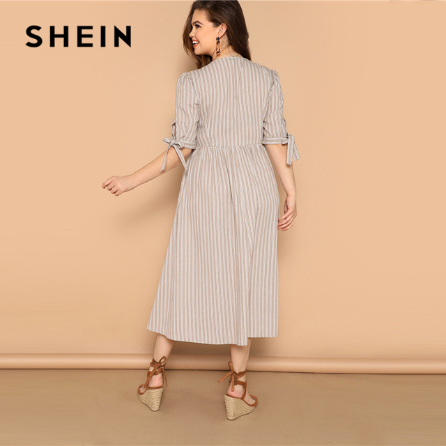 SHEIN Plus Size Multicolor Knot Cuff Button Up Striped Dress 2019 Women Summer Boho V Neck Half Sleeve Cotton Shift Long Dresses 2
