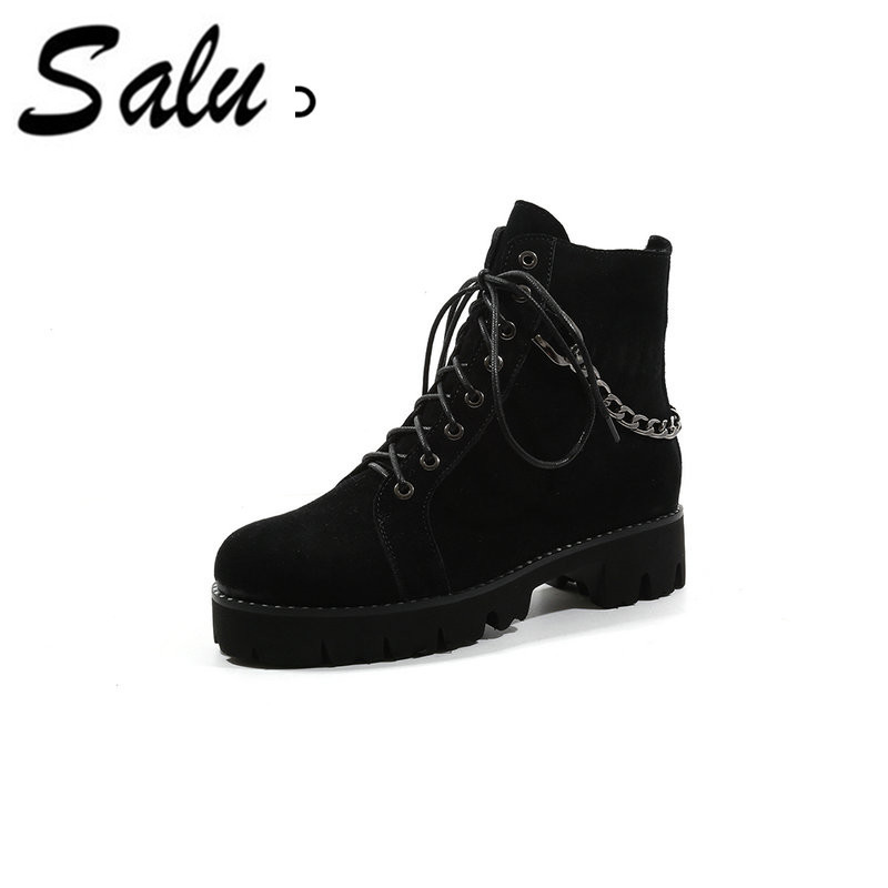 f7ef37e3353dc Salu Martin Boots Women Autumn Ankle Genuine Leather Motorcycle Fashion  Lace Up Round Toe Shoes for