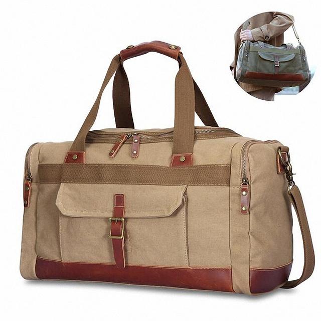 Lona militar do vintage dos homens sacos de viagem Bagagem de mão sacos de Homens sacos de viagem Duffel tote grande Saco de fim De semana Durante A Noite LI-1550