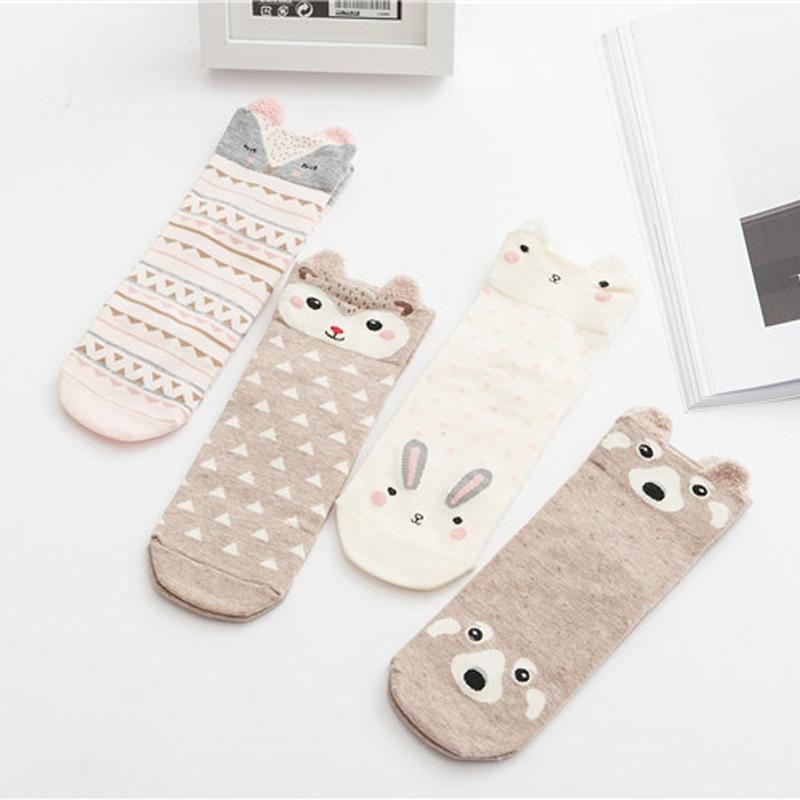 1 Paar Frauen Mädchen Nette Socken Kurze Cartoon Charakter Tier Ankle Kunst Socken Baumwolle Blends Frau Lustige Socken Calcetines Mujer