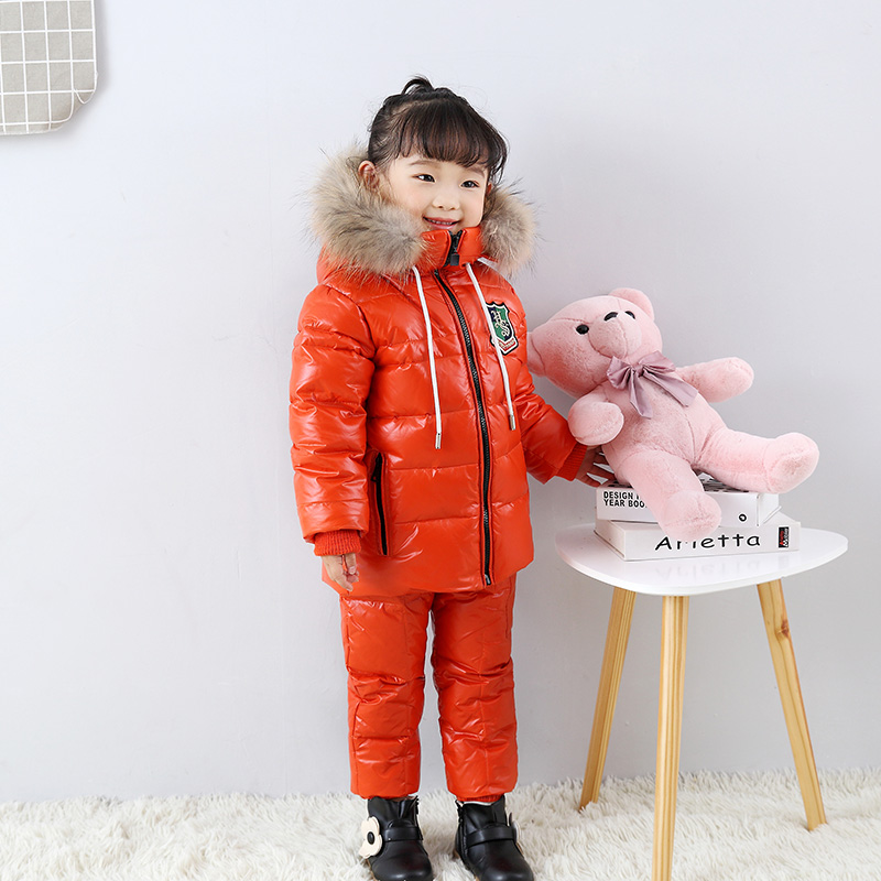 Mioigee 2017 Children Real Fur Warm Clothing Sets  Kids Flowers Ski Suit Chothes Outerwears Baby Snowsuit  Winter Down Coat