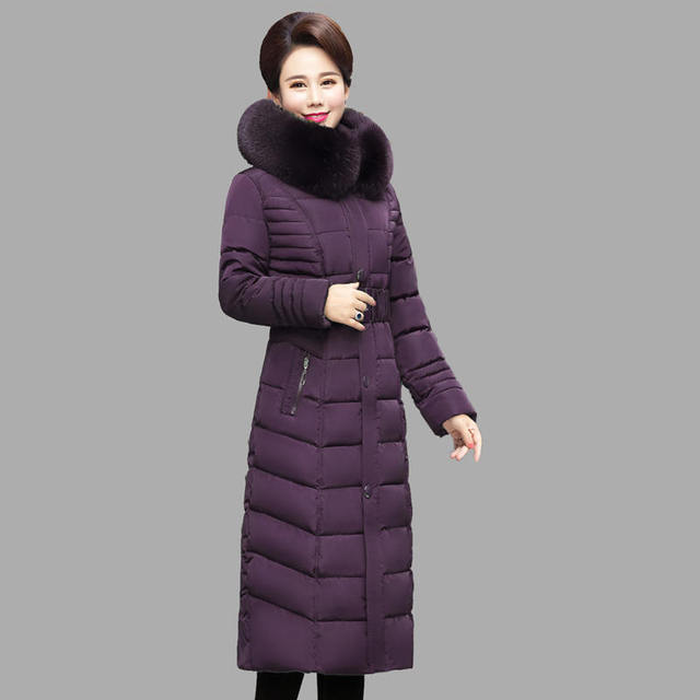 Plus Size 4XL 5XL Middle-Aged Long Winter Jacket Thicken Hooded Fur Collar Cotton Padded Jacket Female Winter Coat Women C5062 4