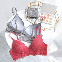 ec8b05790 Roseheart Women Fashion Gray Yellow Lace Bow Bra Set Straps Bralette Cotton  Panties Wireless Underwear Sexy