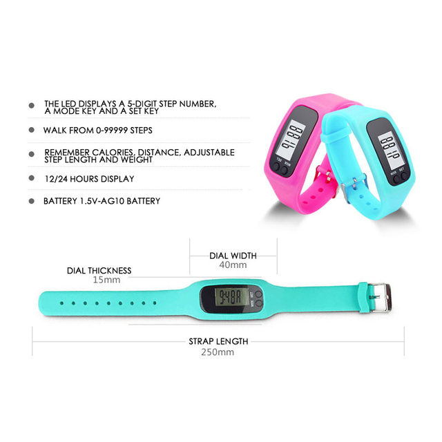 10 Colors Digital LCD Pedometer Run Step Walking Distance Calorie Counter Watch Casual Men Women LED Sports Watches relogio