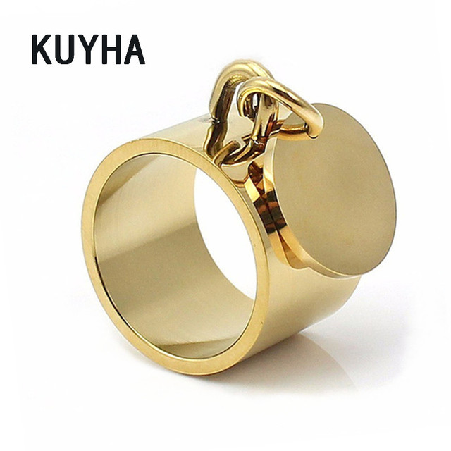 Fashion Forever Round Rings for Women Custom Name/Logo Charm Stainless Steel Jewelry for Lovers Valentines' Day Gift