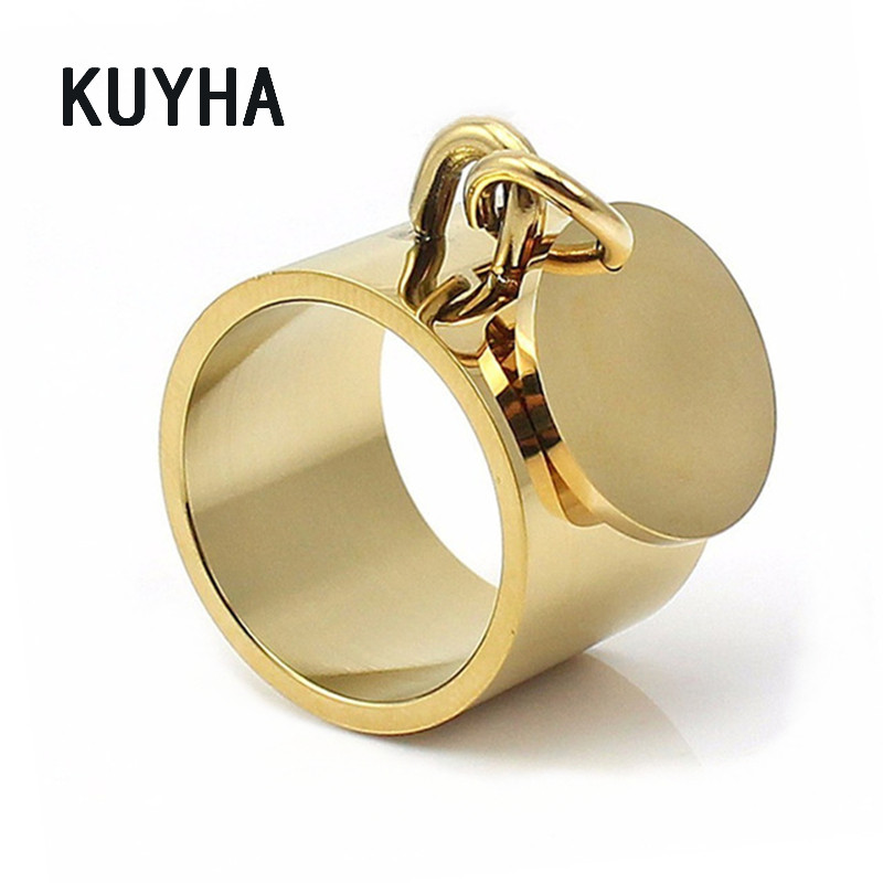 Fashion Forever Round Rings for Women Laser Name/Logo Charm Stainless Steel Jewelry for Lovers Valentines