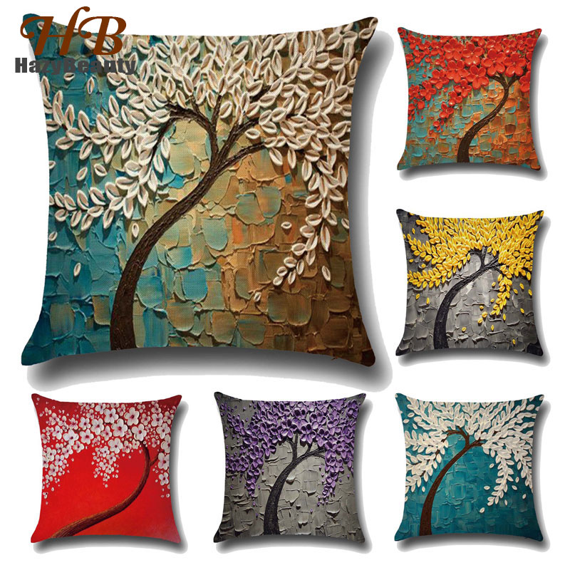 Vintage-cushion-covers Home Decor Flower Pillow Case Mural Yellow Red Flower Tree Pillow Covers 3d Diy Sofa Pillow Cover 45*45