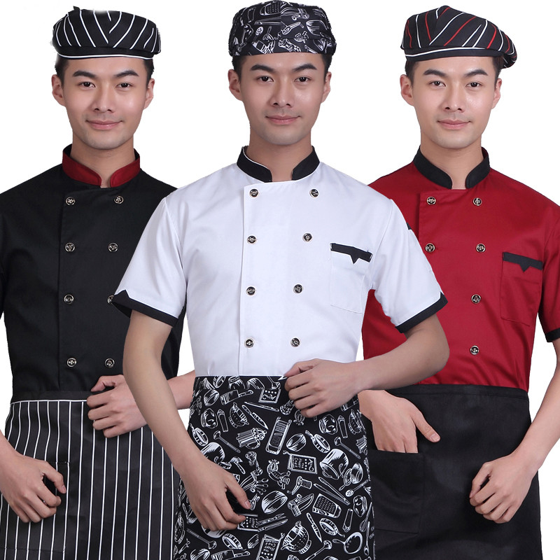 New Chef's Uniform Breathable Outfit Summer Wear Work Clothes Men Women Chef Jacket Overalls Hotel Chef White Black Red Shirt