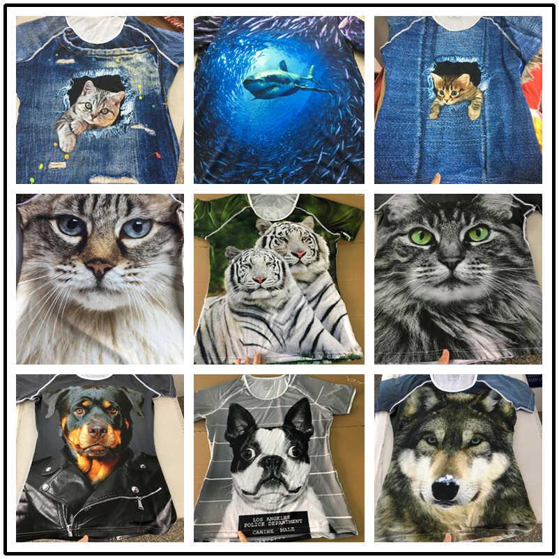 Su misura di Abbigliamento di Marca Donne di Estate Manica Corta T Shirt Animal Cat Stampa Femminile Elastico Magliette e camicette Tee Camicia Femminile T-Shirt