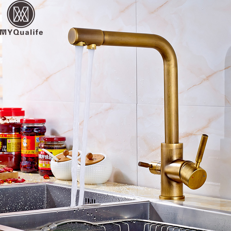 Luxury Dual Spout Bathroom Kitchen Purification Faucet Drinking Tap Pure Water Faucet Dual Handle Hot and Cold Mixer TapsLuxury Dual Spout Bathroom Kitchen Purification Faucet Drinking Tap Pure Water Faucet Dual Handle Hot and Cold Mixer Taps