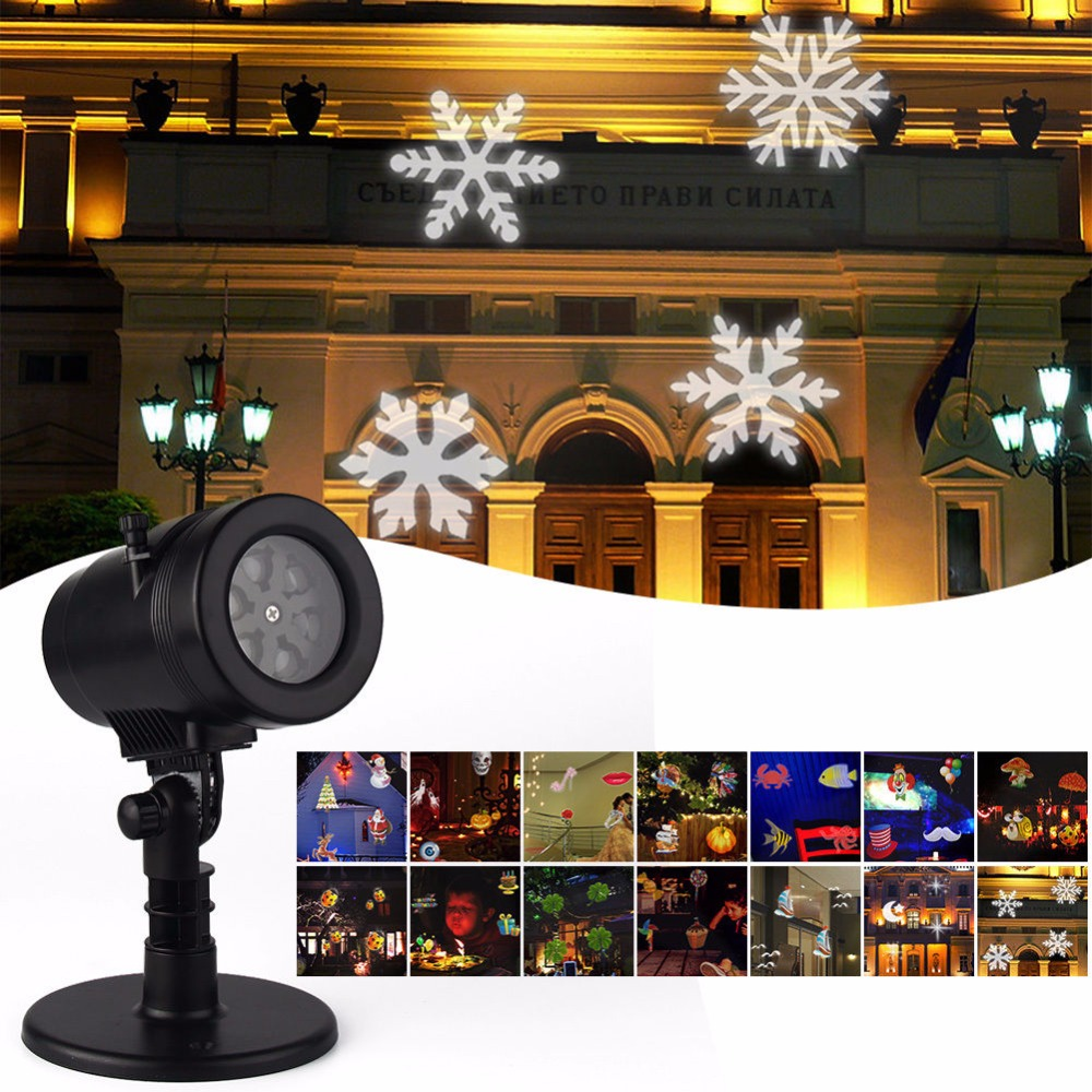 New 14 Patterns Waterproof LED Projector Light Disco Lamp Star Ghost Snowflake Heart Leaf Party Christmas Decoration Outdoor