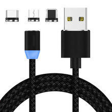 1M 2M  (3.3ft) LED Round Magnetic Adapter Charger 2.4A 1m USB Data Cable For Samsung huawei xiaomi for iphone type c