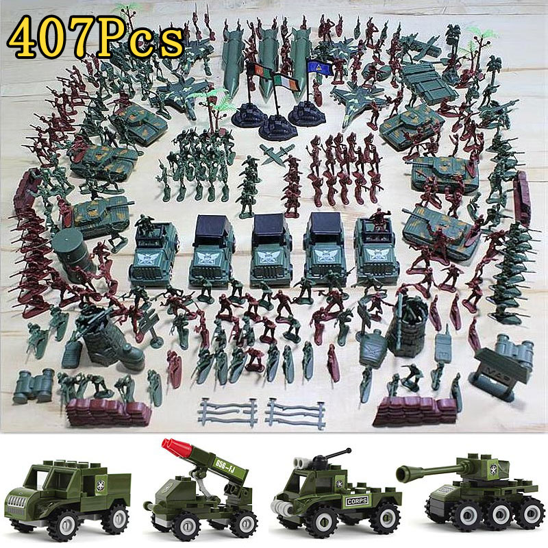 Hot 407pcs Soldier Action Figures Set Rocket Tank Model Kit Military War Building Blocks Toy For Boy Children Army Figma Gift patrulla canina with shield brinquedos 6pcs set 6cm patrulha canina patrol puppy dog pvc action figures juguetes kids hot toys