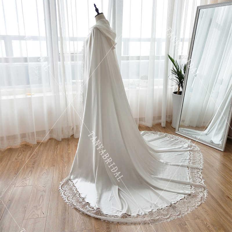b382bef1dc ... BRIDAL CAPE with hood off white cape Silk Satin Long Wedding Cloak Lace  Edge Women Formal ...