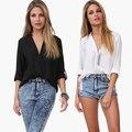 Women Sexy V-Neck Fashion Loose Long Sleeve Chiffon Casual Top Shirt Blouse