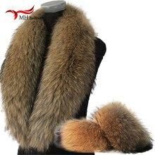 Шарф из натурального меха, куртка с меховым воротником, Женское зимнее пальто, меховые шарфы, шарфы для шеи+ манжеты, роскошный мех енота, зимние теплые грелки для шеи L1