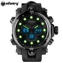 Mens Watches Top Brand Luxury INFANTRY Chronograph Sports Watch Analog-Digital Military Rubber Quartz Watch Relogio Masculino