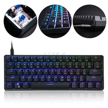 GK61 61 Ключ Механическая проводная клавиатура с USB светодиодный подсветкой оси игровая механическая клавиатура для рабочего стола