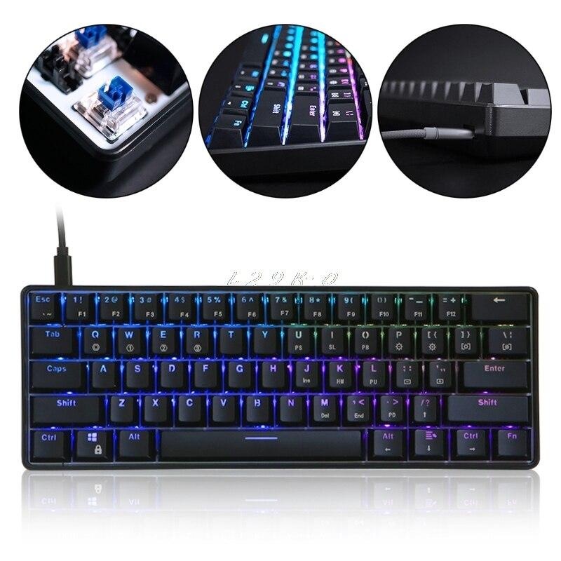 GK61 61 clavier mécanique clé USB filaire LED rétro-éclairé axe jeu clavier mécanique pour bureau
