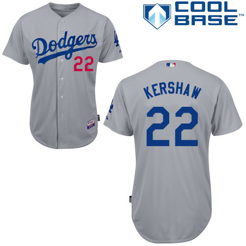 13cf36473 Men s Los Angeles Dodgers  22 Clayton Kershaw Baseball Jersey White  Gray