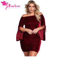 Dear Lover Vintage Autumn Winter Wine Black Plus Size Velvet Off Shoulder Bell Sleeve Bodycon Dress