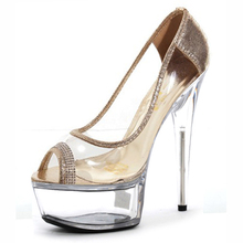 15cm Summer Sandals Silver/Gold Women's Pumps Peep Toe Transparent High Heels Wedding Shoes Sexy Crystal Shoes