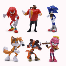6 pcs/set Anime Sonic Tails Amy Rose Rouge Knuckles PVC Action Figure Doll Model Toy Christmas Gift For Children