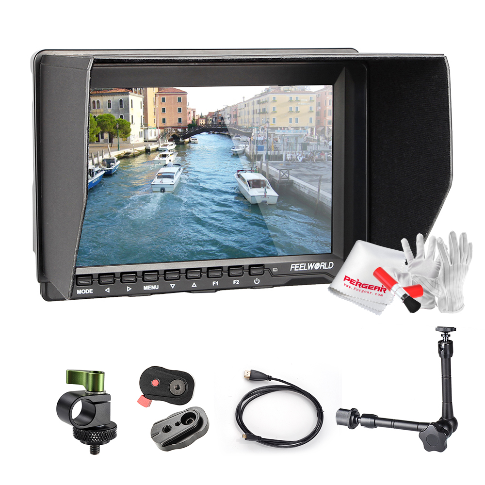 Feelworld FW759 7 LCD DSLR Camera BMPCC HD IPS 1280x800 HDMI Field Monitor+Quick Release Plate+HDMI Cable+Rod Clamp+Magic Arm lilliput tm 1018 o p 10 1 led ips full hd hdmi field touch screen camera monitor with hdmi input