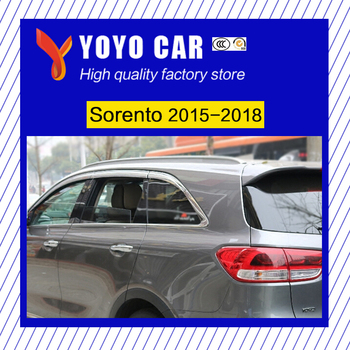 High quality 6 Piece ABS plating decorative Awnings  shade rain sun wind deflector window visor for Sorento 2015 2016 2017 2018