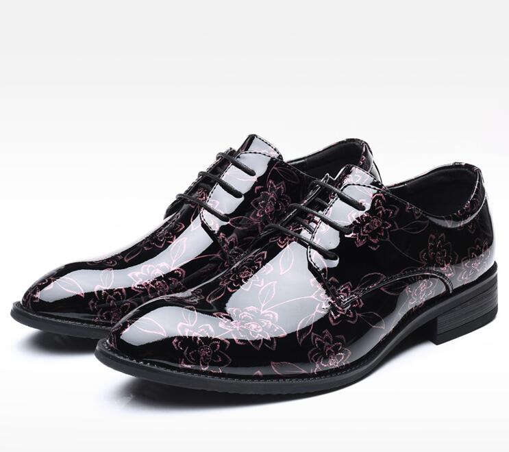 Lace-Up British Style Shoes Men's Shoes Stylish Pointed Toes Patent Leather Printed Plus Size48 Low Heel Dress Smart Casual Shoe stylish 3 4 sleeve v neck lace up printed women s dress