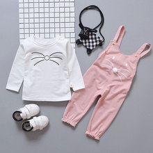 Twin baby girl cat shirt suspender pants outfits