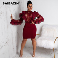 BAIBAZIN New African Woman Dress Sexy Clothing Ruffled Lace Perspective Bag Hip Dress