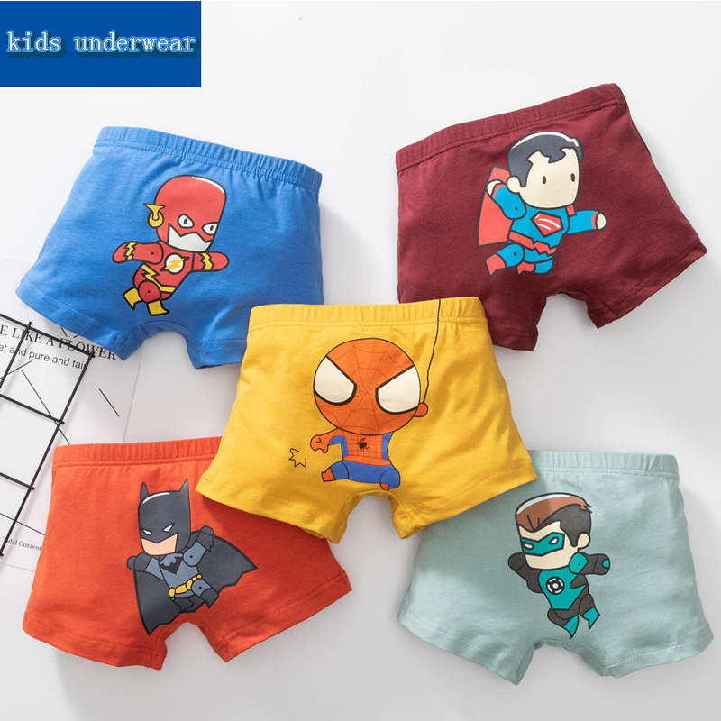 5 PCS Kids Boys Cotton Underwear Spiderman Batman Iron Man Baby Cartoon Printed Child Comics Boxers Briefs Panties Set For Boys