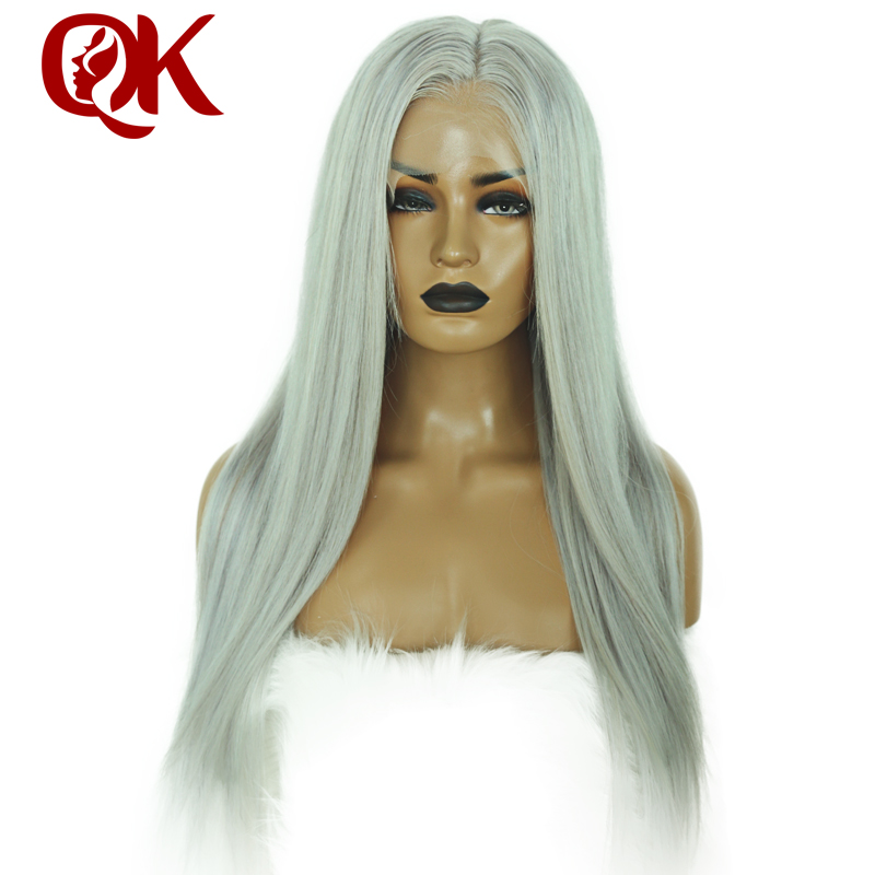 QueenKing Hair Full Lace Wig 150% Density Ash Blonde Grey Color Wig Straight Plucked Hairline 100% Brazilian Human Remy Hair