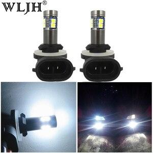 Image 1 - WLJH 2x Beyaz Canbus H27 881 LED Ampul Araba Işık H27W Sis Lambası Led lamba ampulü Gündüz Çalışan Işık DC12V 24V için hyundai Kia