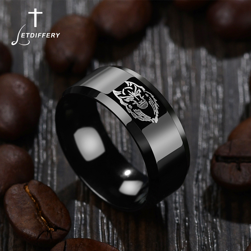 Letdiffery Cool Lion bandeau noir titane anneau hommes fiançailles Anel bijoux anneaux pour les bandes de mariage de fête masculine