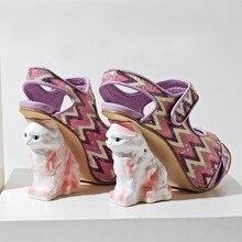 2017 New Arrival Open Toe Kitten Shape High Heel Sandal Patchwork Platform Ankle Strap Sandals Wedding Party Dress Shoes Woman