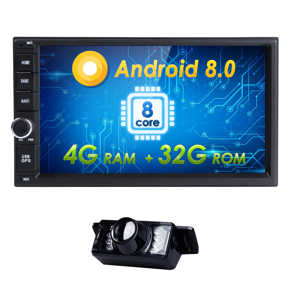 "7""Hizpo 4G+32G Android8.0 OctaCore Universal Car Audio Stereo GPS Navigation Double 2Din 1024*600 HD Head Unit Multimedia Player"
