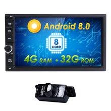 7 «Hizpo 4 г + 32 г Android8.0 OctaCore Универсальный автомобильный аудио стерео gps навигации двойной 2Din 1024*600 HD головное устройство мультимедийный плеер
