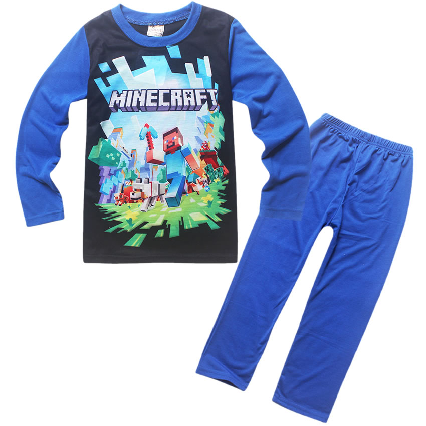 цена на Minecraft spring and autumn cartoon children's wear long-sleeved T-shirt + casual pants home service boy girls pajamas clothing