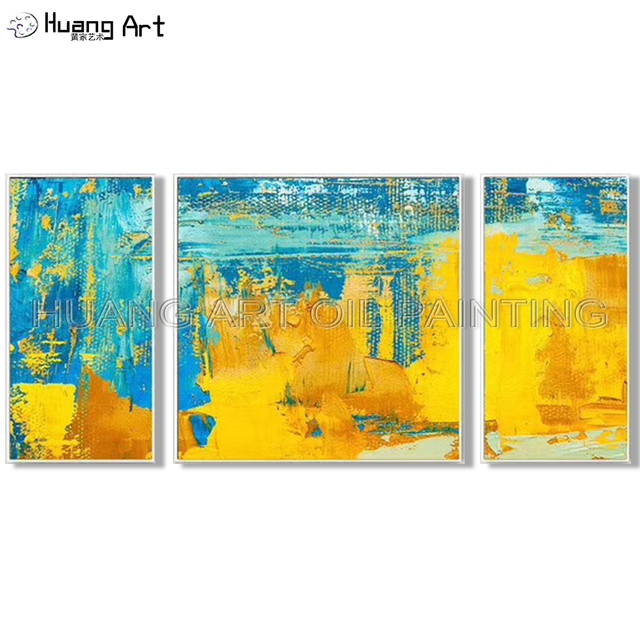 Pure Hand Painted Oil Painting On Canvas Modern Blue Yellow Abstract Art Picture Handmade Group