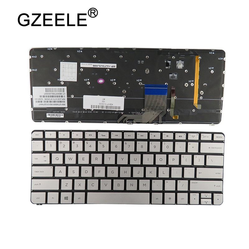 GZEELE new US Laptop keyboard for HP Spectre 13-3000 13-3000ea 13-3000ed 13-3000ee 13-3000er 743897-001 English Silver Backlit