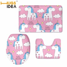 hot deal buy hugsidea kid like unicorn designer 3pcs/pet decorations for home toilet seat cover and rug washroom set toilet seat covers