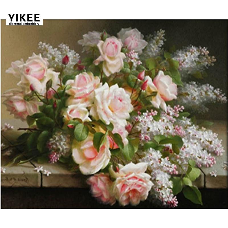 b002 diy rhinestone painting, výšivky diamant, růže, květiny diamantové malby
