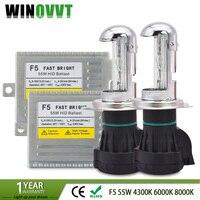 bi xenon H4 high low hid kit High quality Fast bright F5 car xenon hid kits 55W Beam Lamp 6000K AC 12V