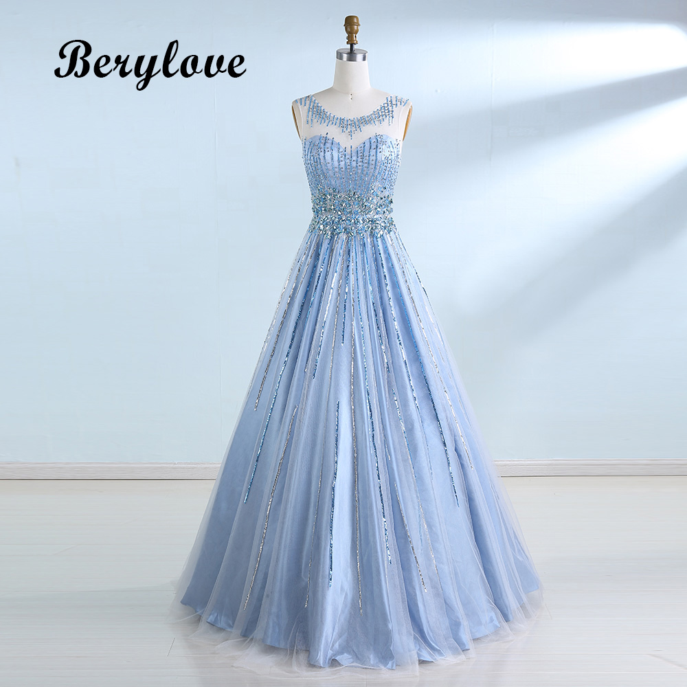 BeryLove Long Beading Light Blue Evening Gowns Dresses 2018 Tulle Evening Dresses Open Back Special Occasion Party Dresses