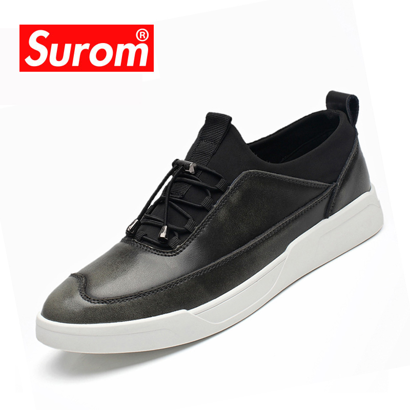 SUROM 2018 New Fashion Comfortable Spring Casual Shoes Men Classic Leather Breathable Lace Up Men Flat Shoes Zapatos Hombre asus zenfone 3 deluxe zs550kl silver 90az01f4 m00100