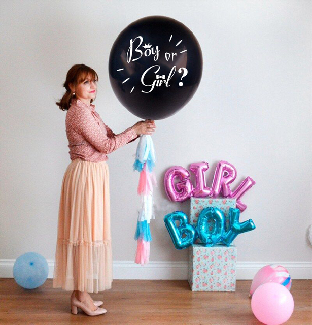 284875584d20 10pc 36inch Big Size Giant Gender Reveal Confetti Latex Balloon boy ...