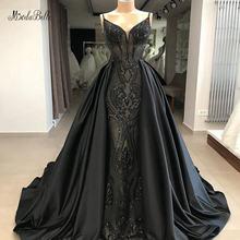 Модные черные вечерние платья трапеции с блестками длинное вечернее