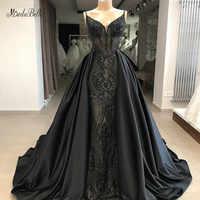 Modabelle สีดำเลื่อม A - Line ชุดราตรีซาอุดีอาระเบียสปาเก็ตตี้ชุดราตรียาว Dresses กระโปรงที่ถอดออกได้